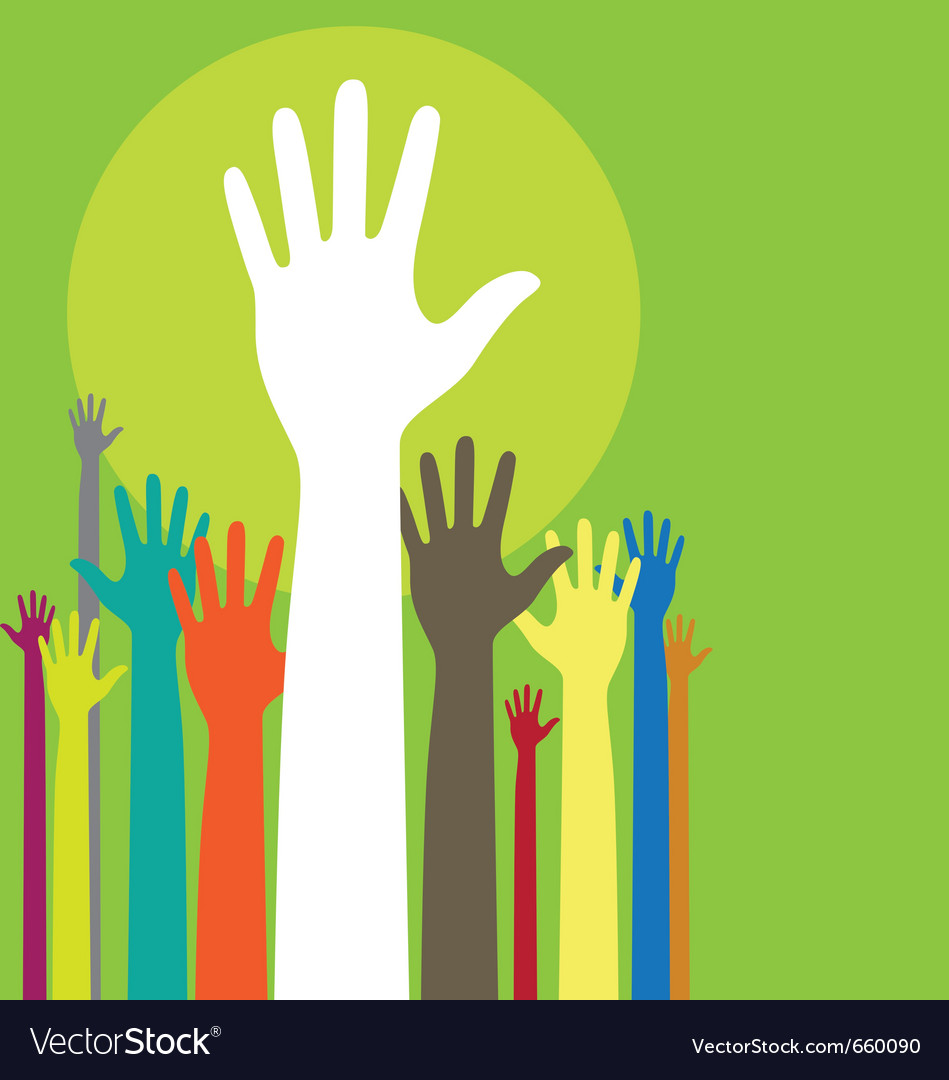Background with raised hands and copy space on gre vector