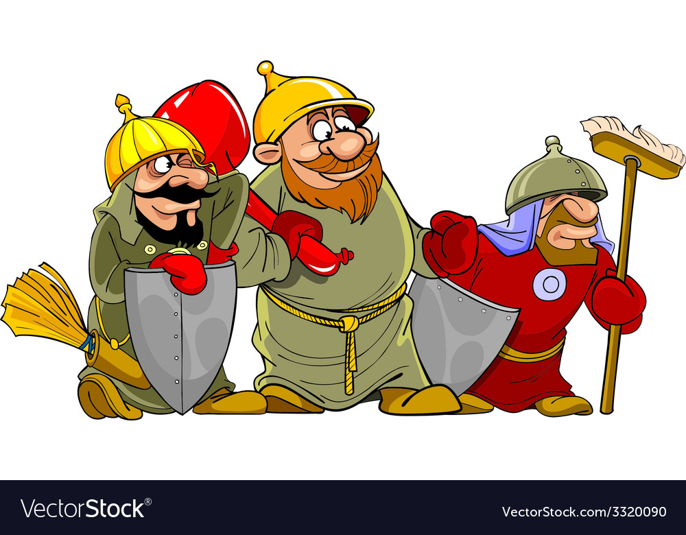 Cartoon funny warriors bogatyrs vector