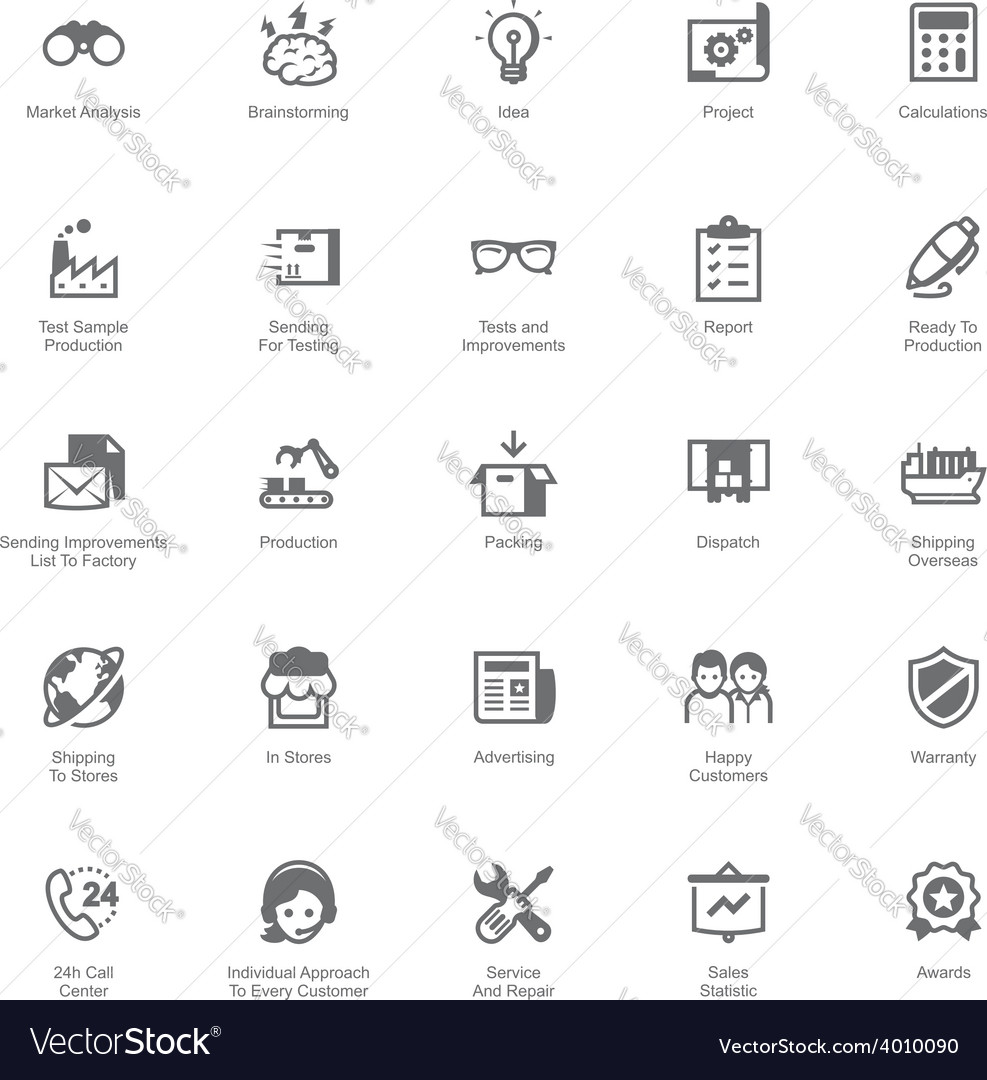 Manufacturing and distribution icon set vector