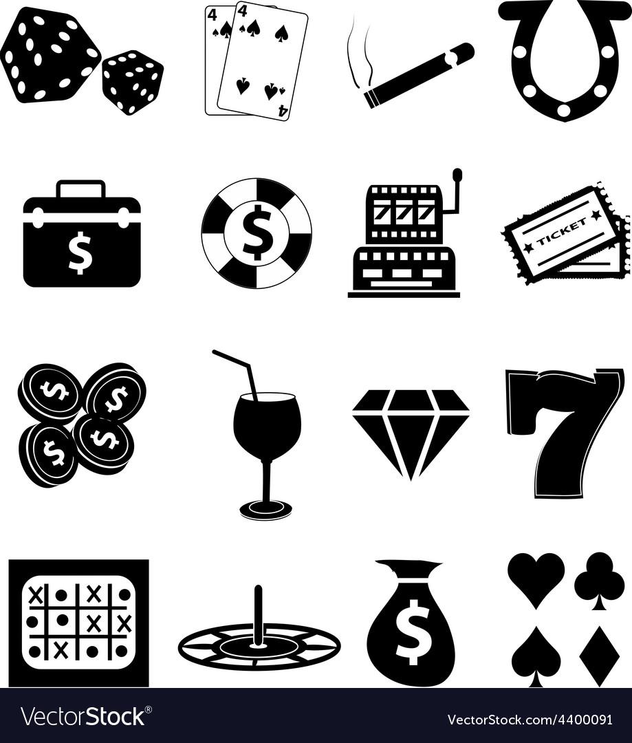Casino gambling icons set vector