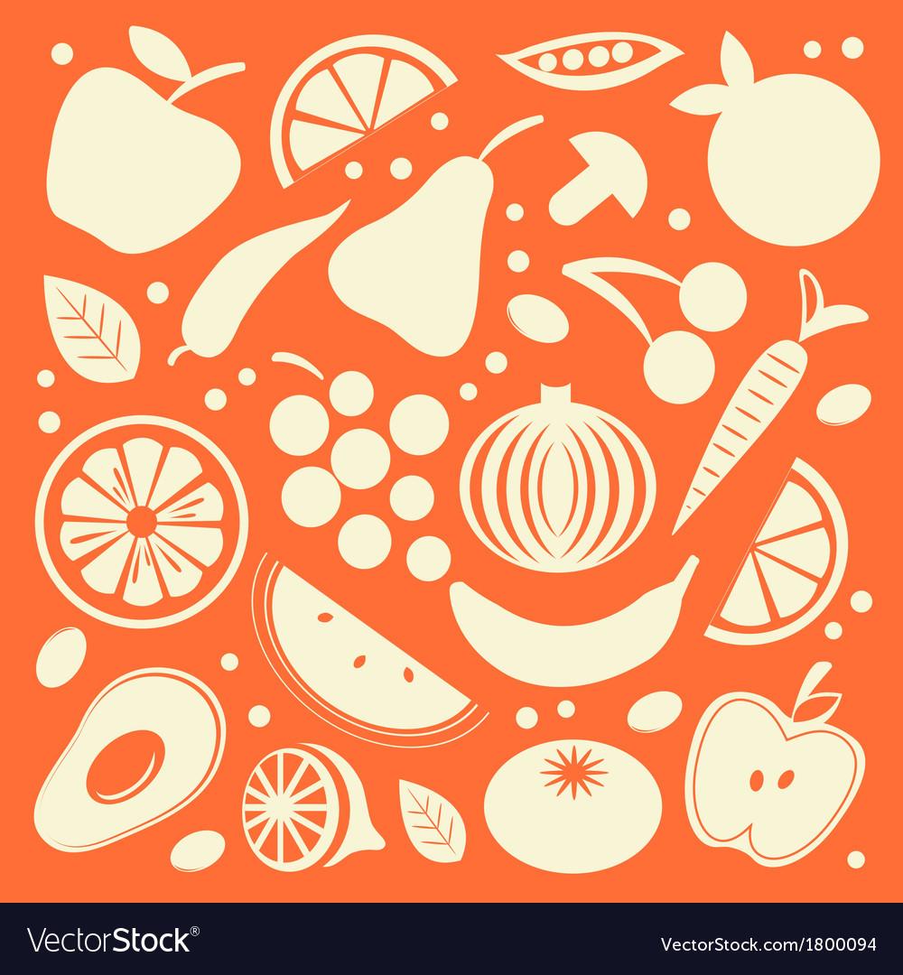 Fruit and vegetables set vector