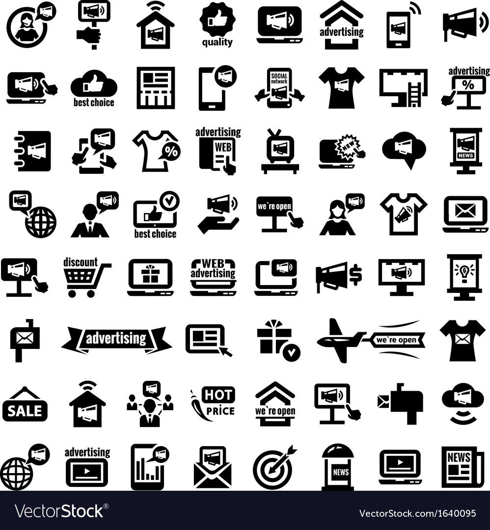 Big advertising icons set vector