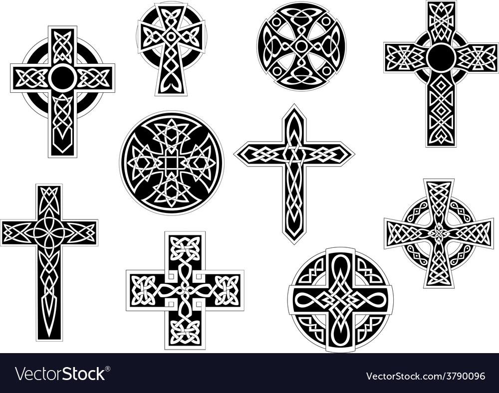 Black and white decorative christian crosses vector