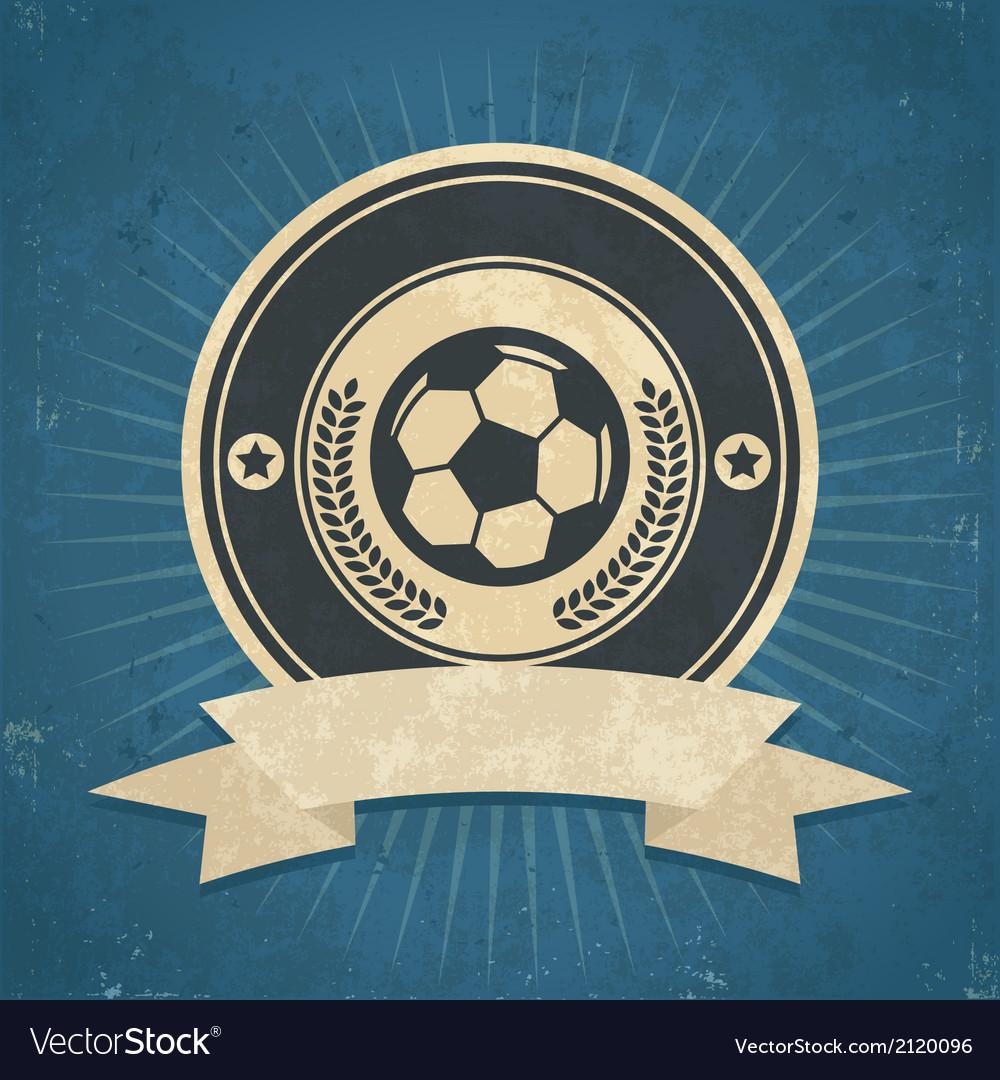 Retro soccer ball emblem vector