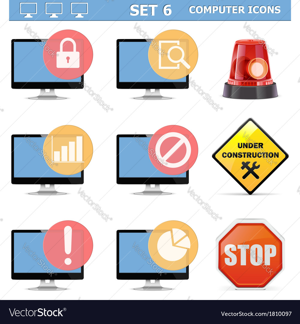 Computer icons set 6 vector