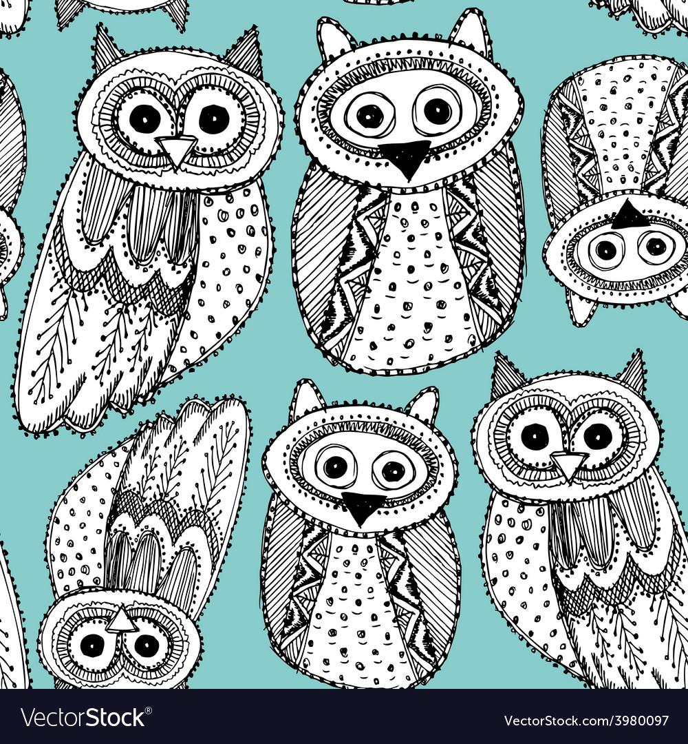 Decorative hand dravn cute owl sketch doodle black vector
