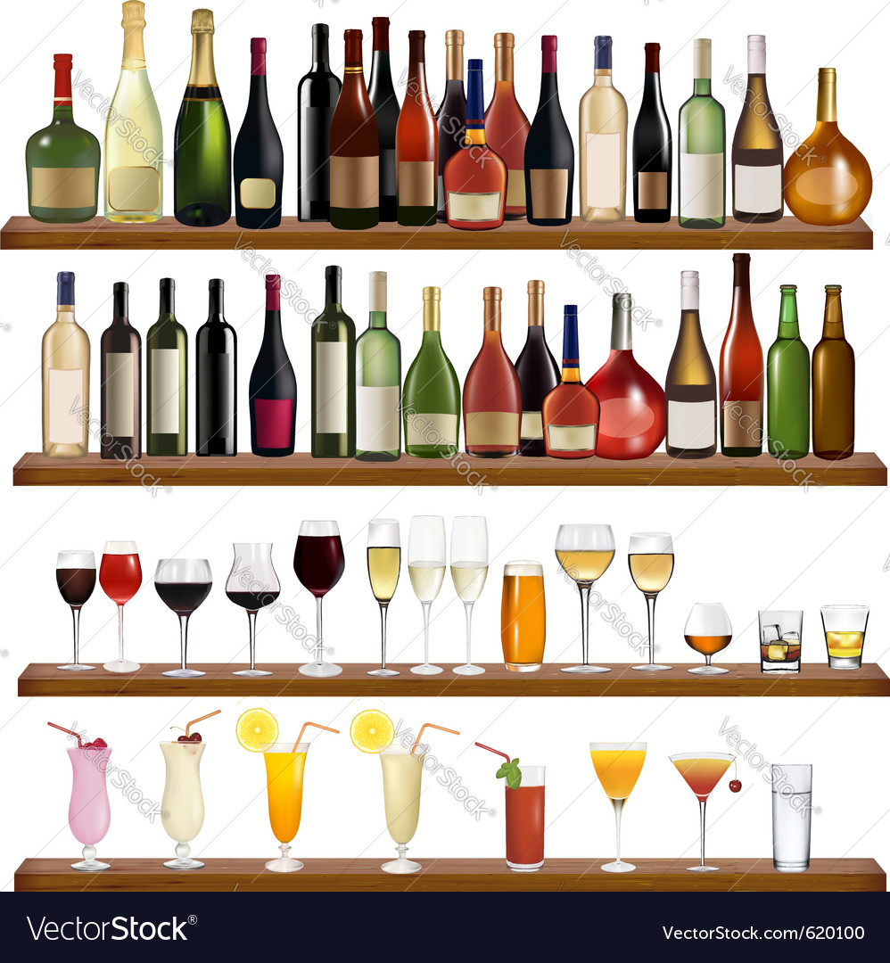 Drinks and bottles vector