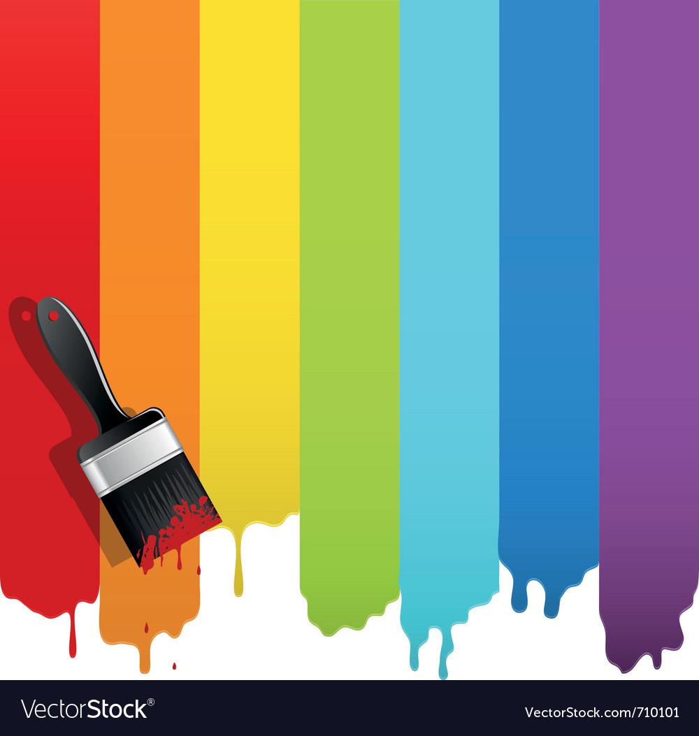 Brush with rainbow paint vector