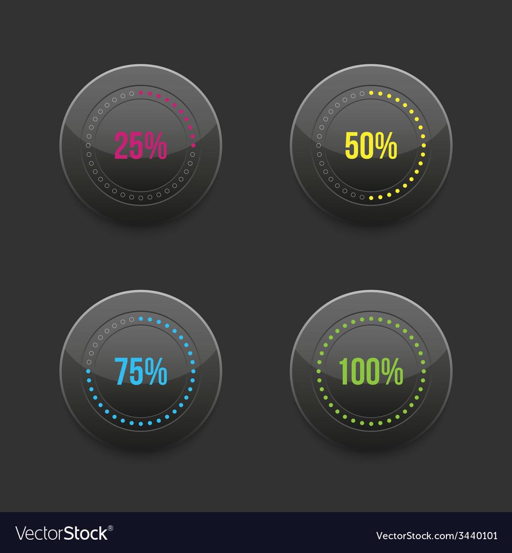 Set of round progress bar element with vector