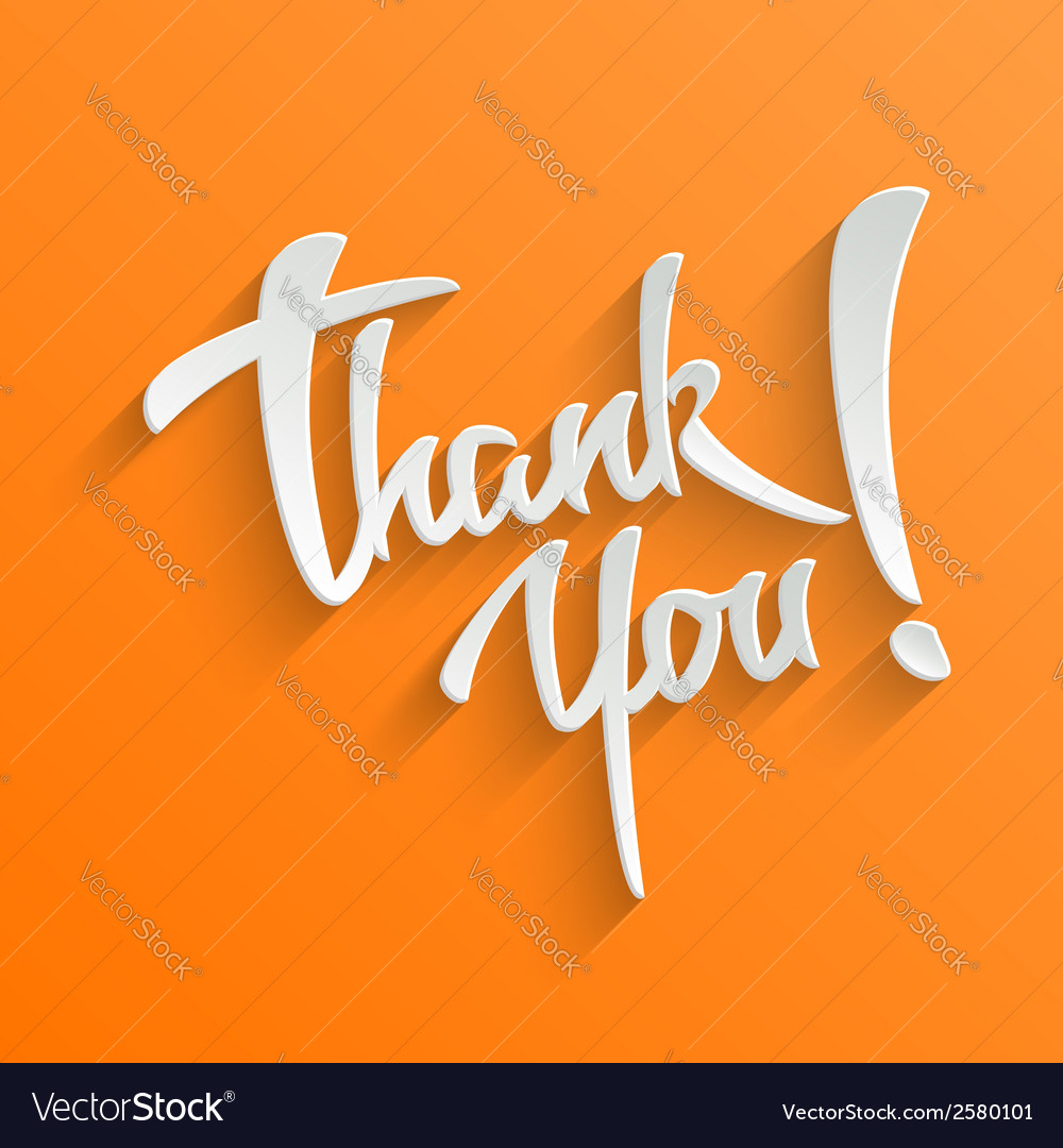 Thank you lettering greeting card vector