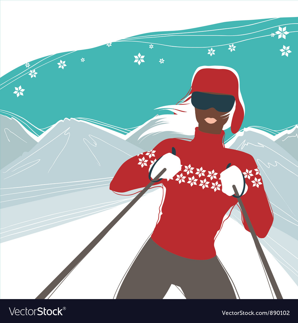 Glamour girl skiing winter season sports vector