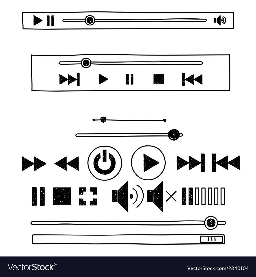 Hand draw sketch doodle audio player for web vector