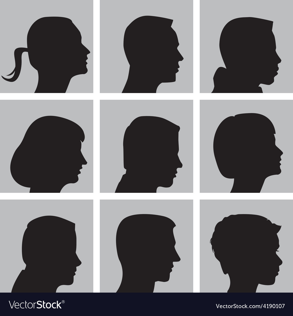 Set of cameo silhouettes vector