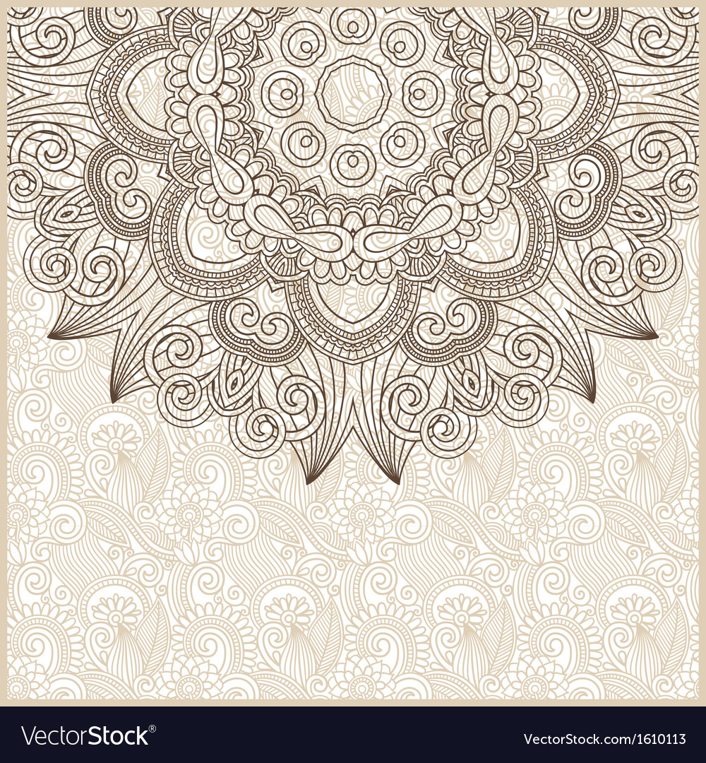 Ornate circle floral card announcement vector