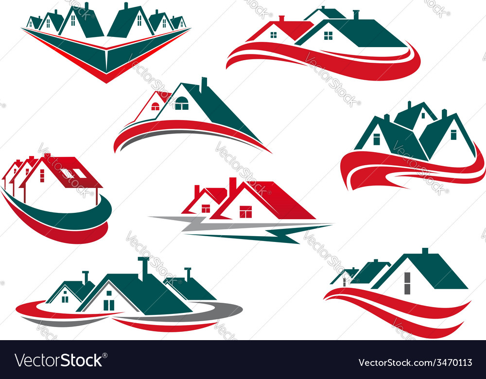 Real estate and house icons or symbols vector
