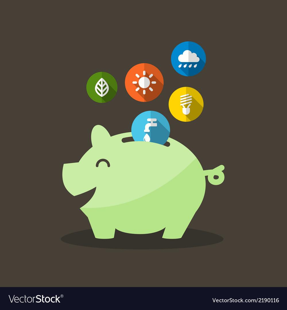 Energy saving with piggy bank vector