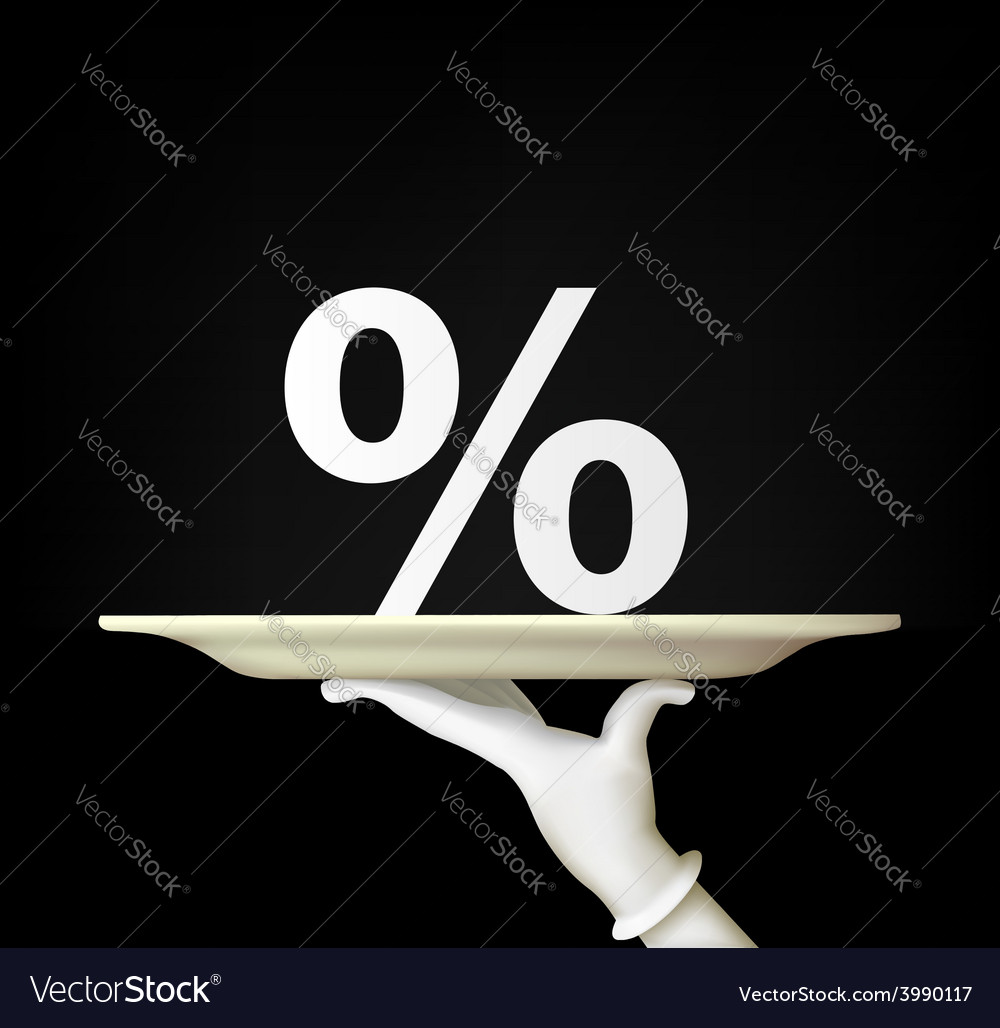 Hand holding a tray with a percent sign vector