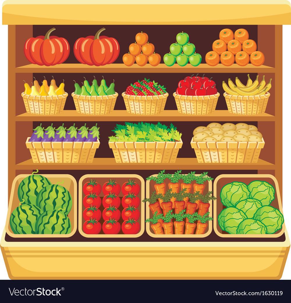 Supermarket vegetables and fruits vector