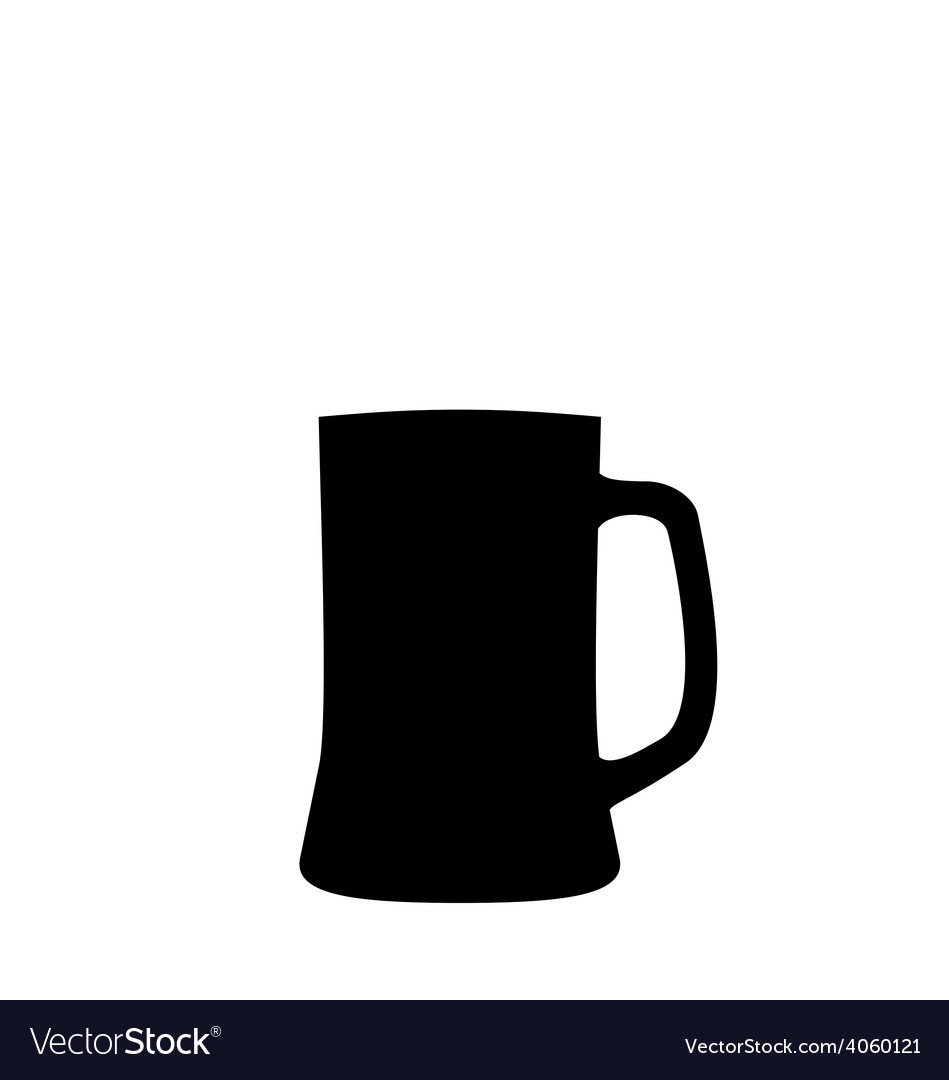 Black silhouette beer mug isolated on white vector