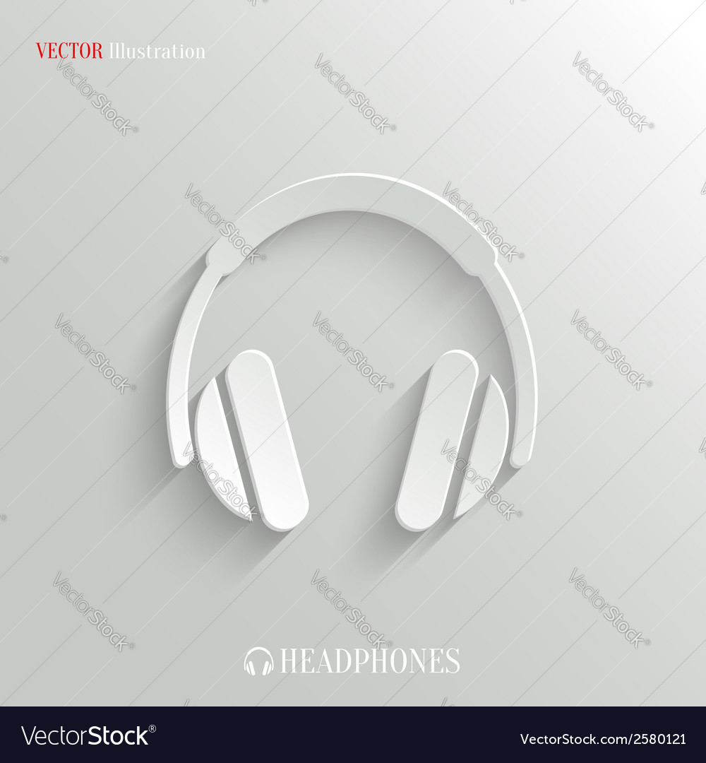 Headphones icon - white app button vector