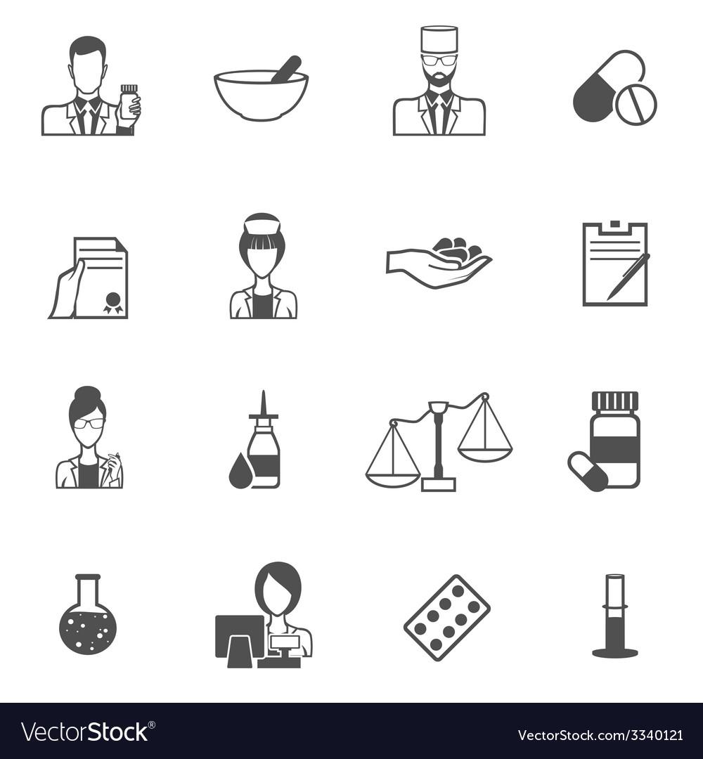 Pharmacist icon black set vector