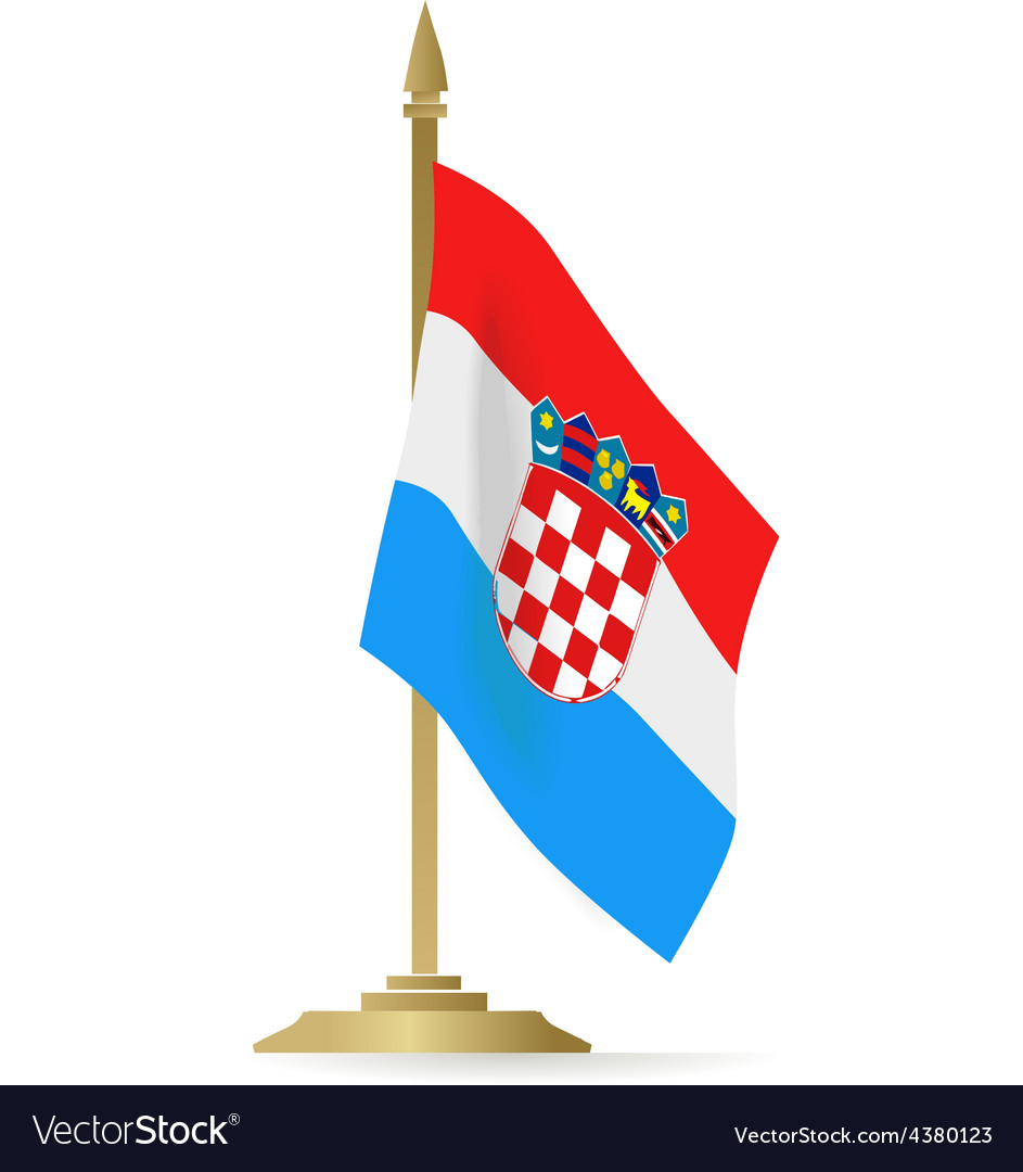 Croatian flag stant on white space vector