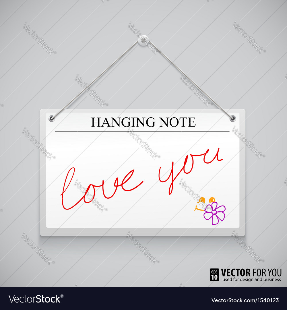 Hanging note board vector