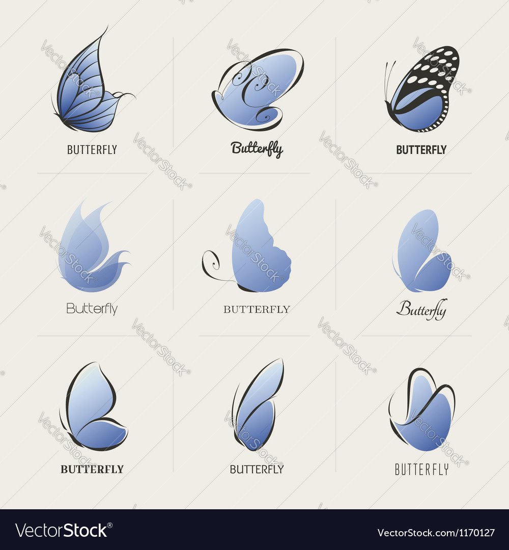 Butterfly - collection of design elements vector
