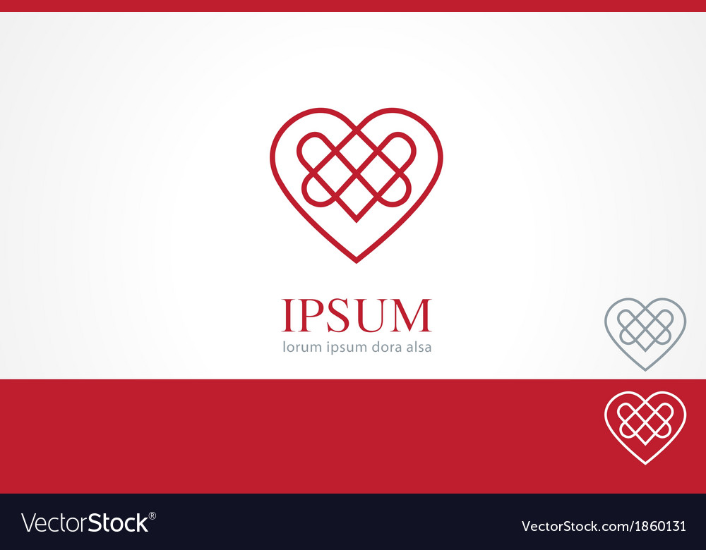 Celtic heart element concept design template vector