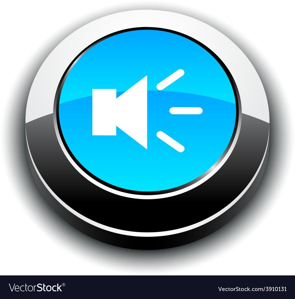 Sound 3d round button vector