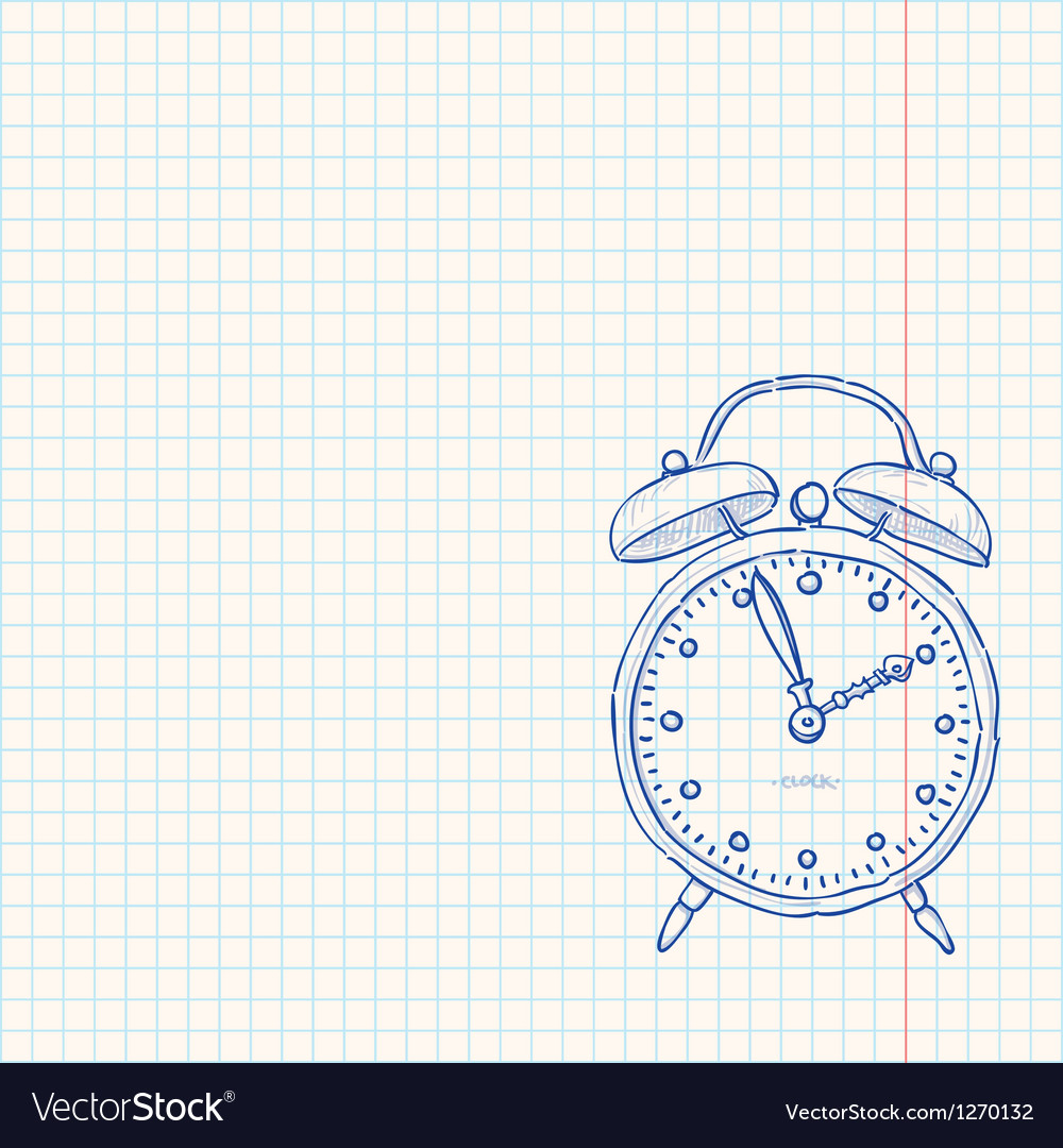 Alarm clock doodle vector
