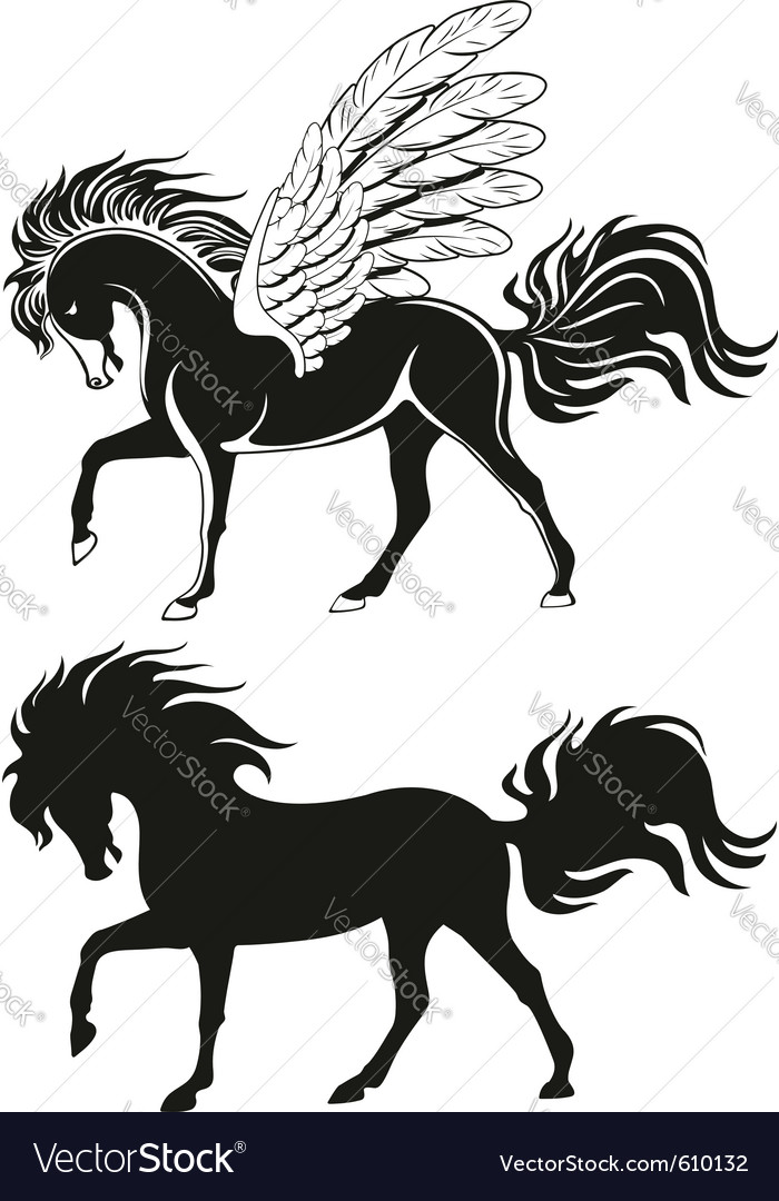 Pegasus winged horse silhouettes vector