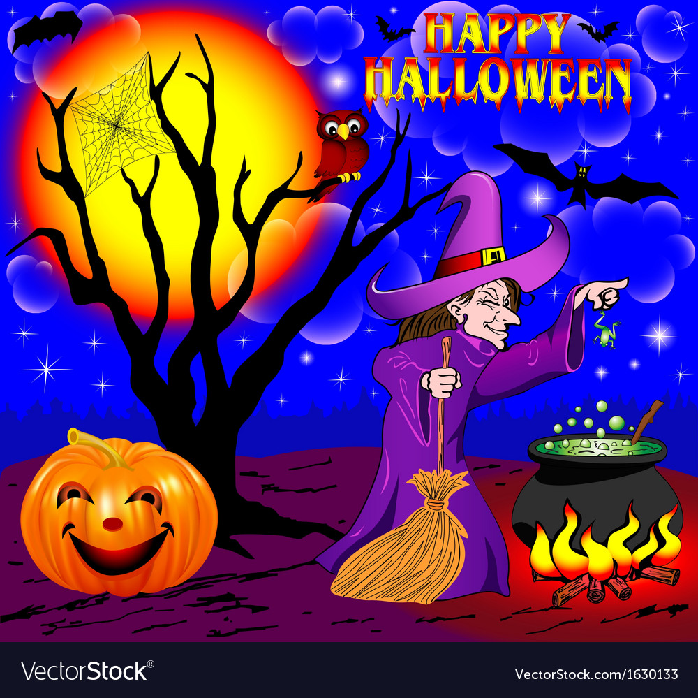 Background halloween with the boiler vector