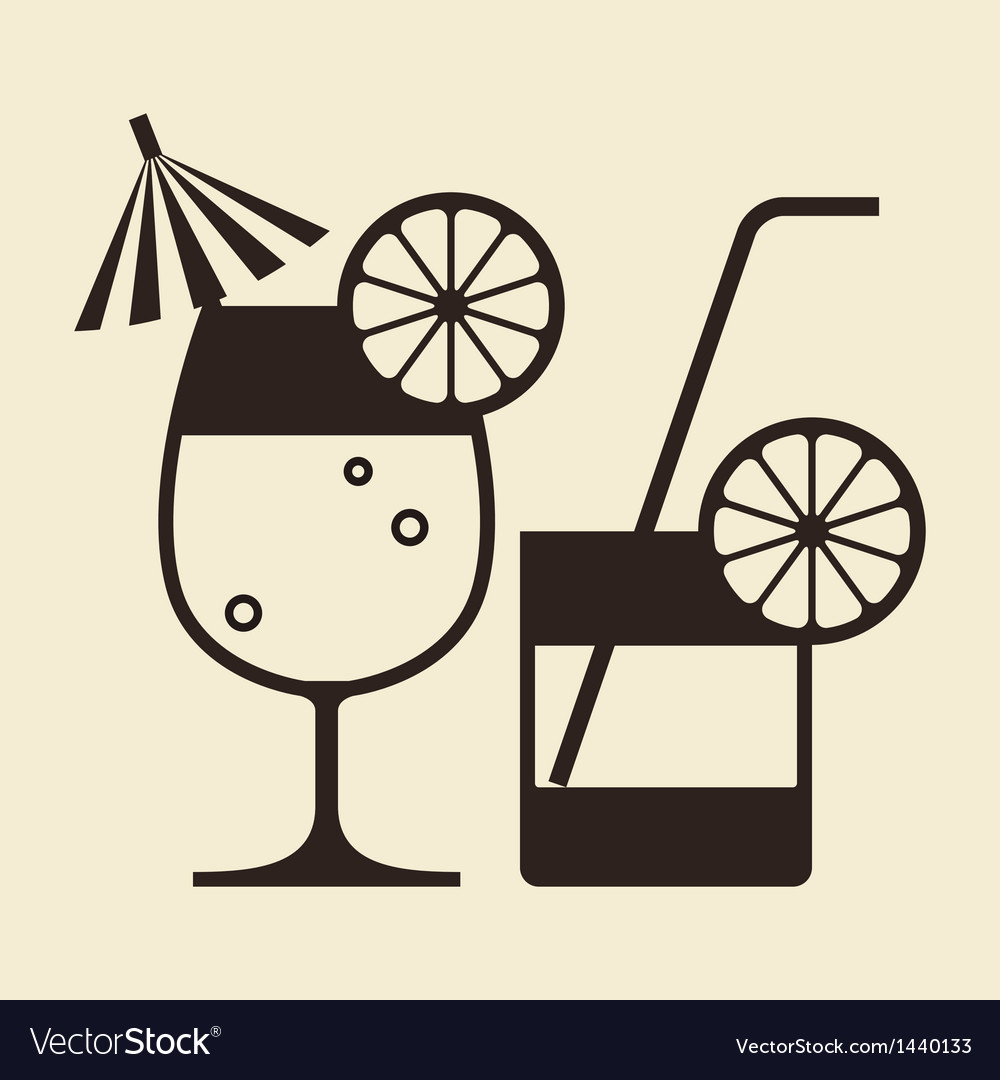 Cocktails with lemon and drinking straw vector