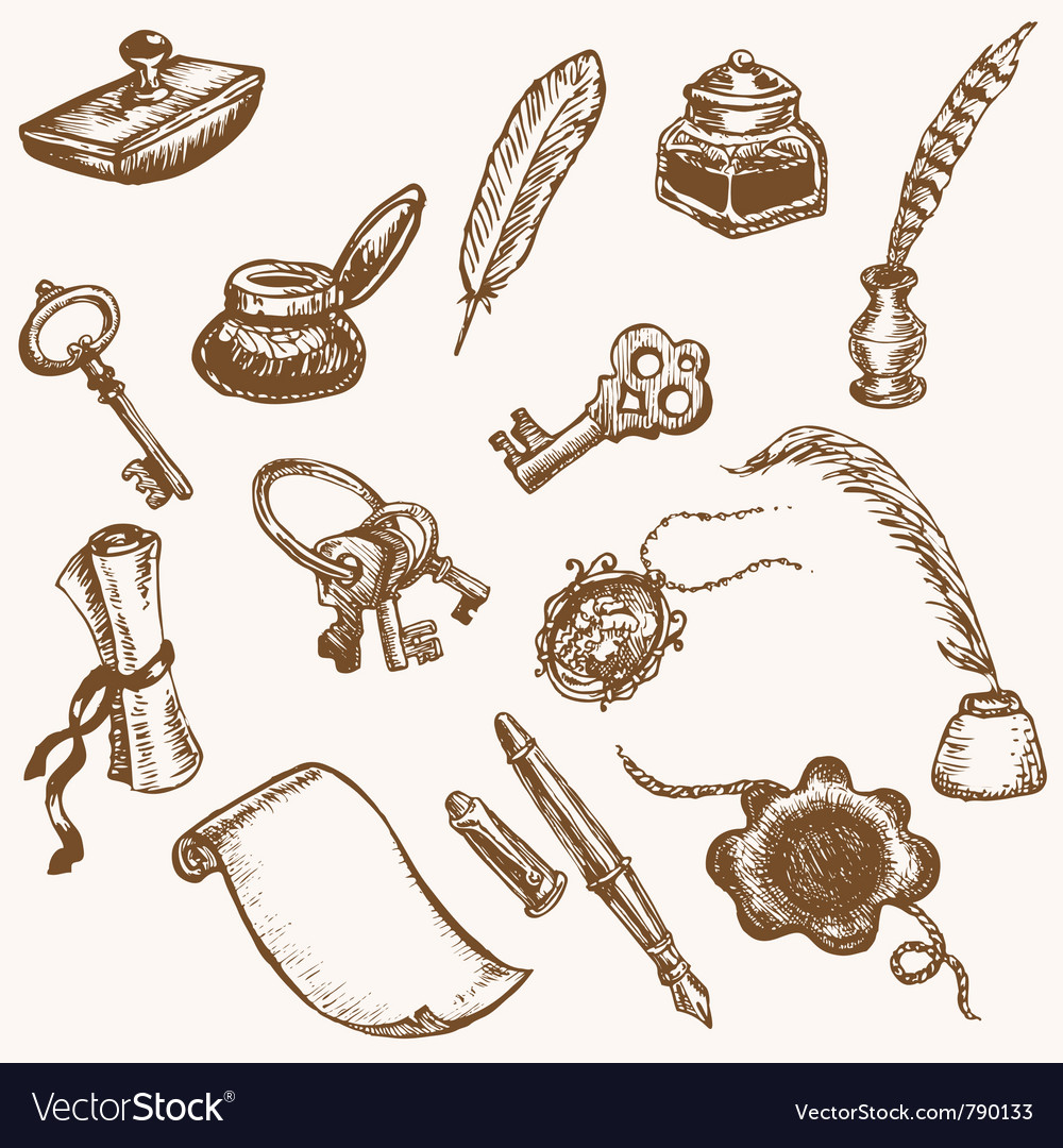 Vintage writing elements vector