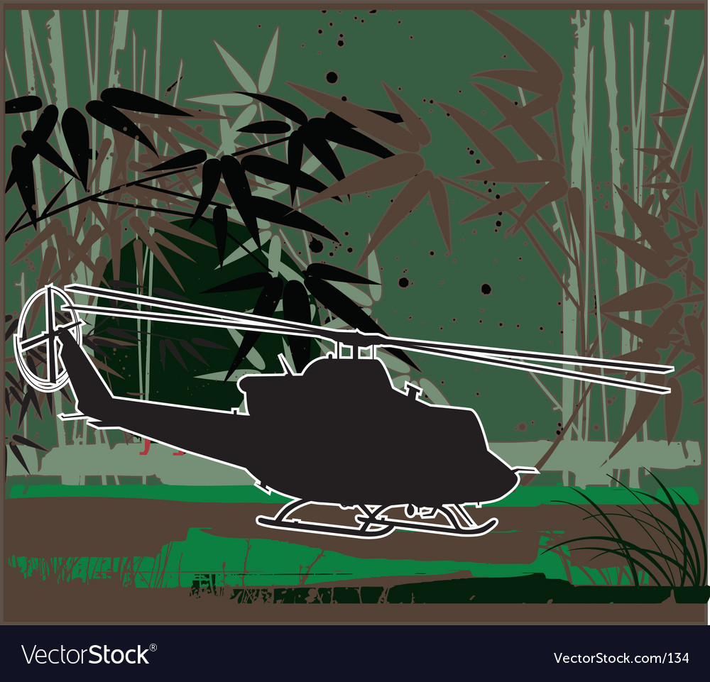 Army chopper iroquois vector