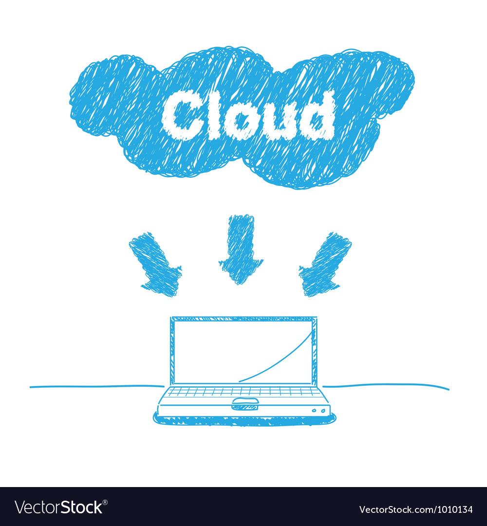 Handwriting sketch cloud computing concept vector