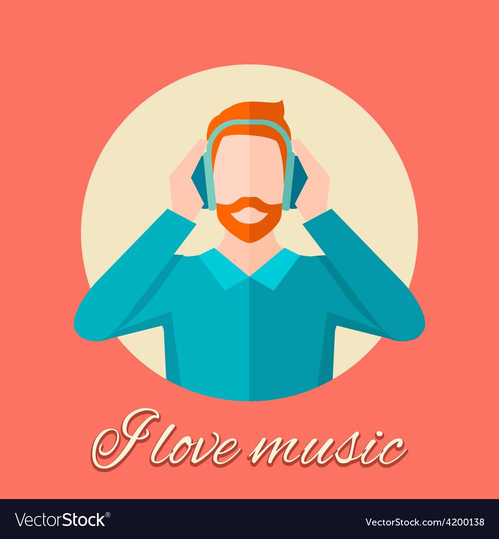 Man listening music vector