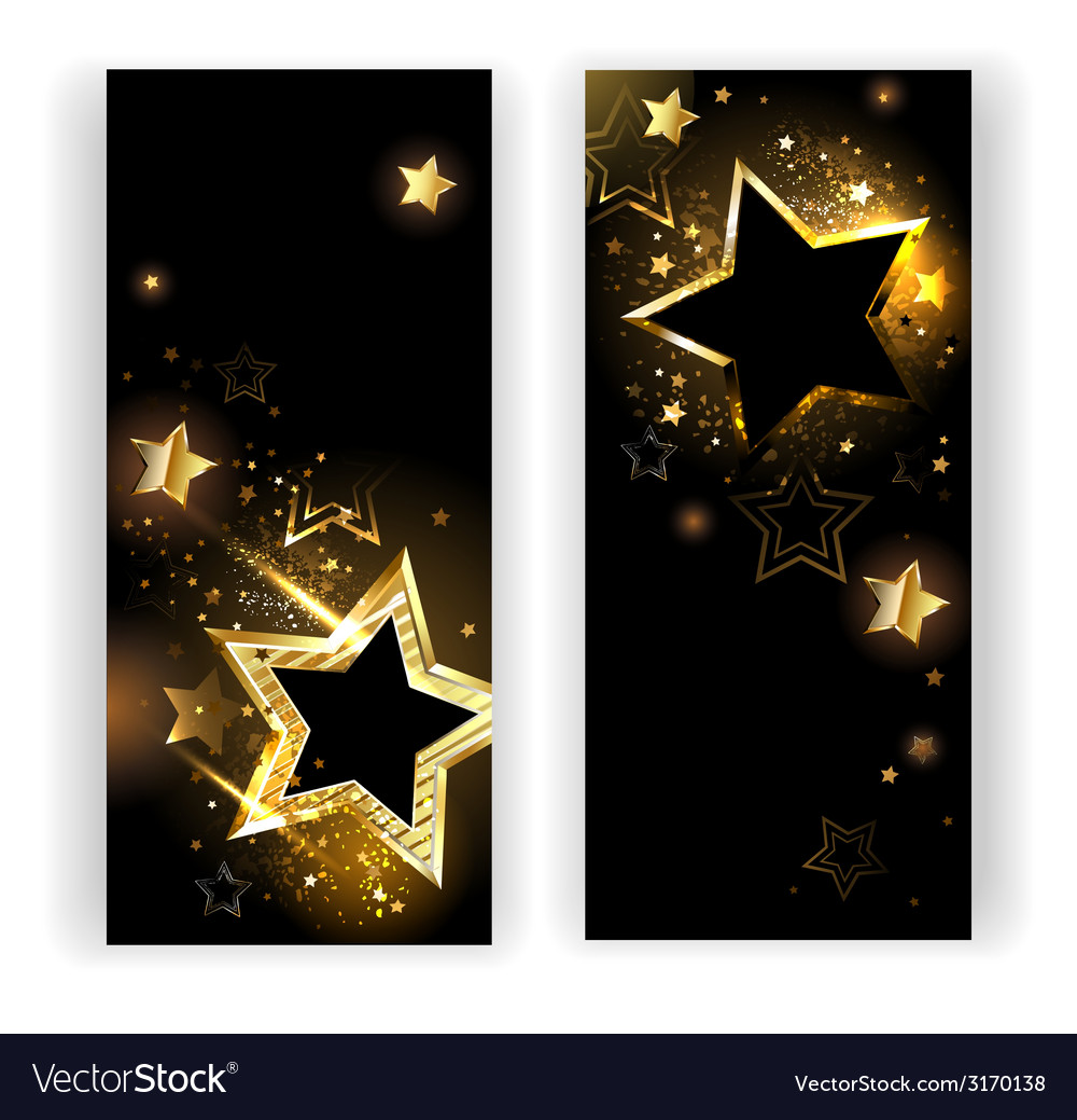 Two banners with gold stars vector