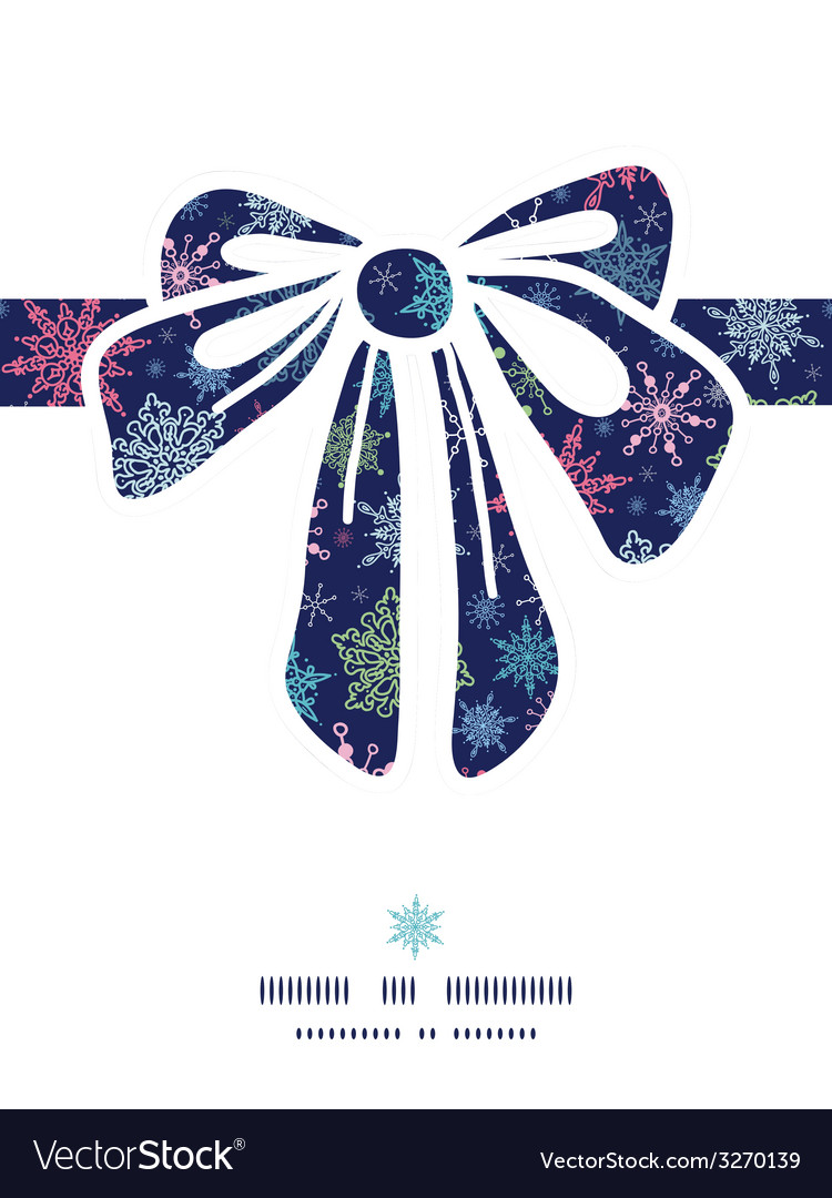 Snowflakes on night sky gift bow silhouette vector