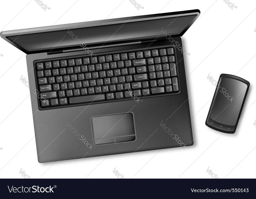 Black design notebook laptop vector