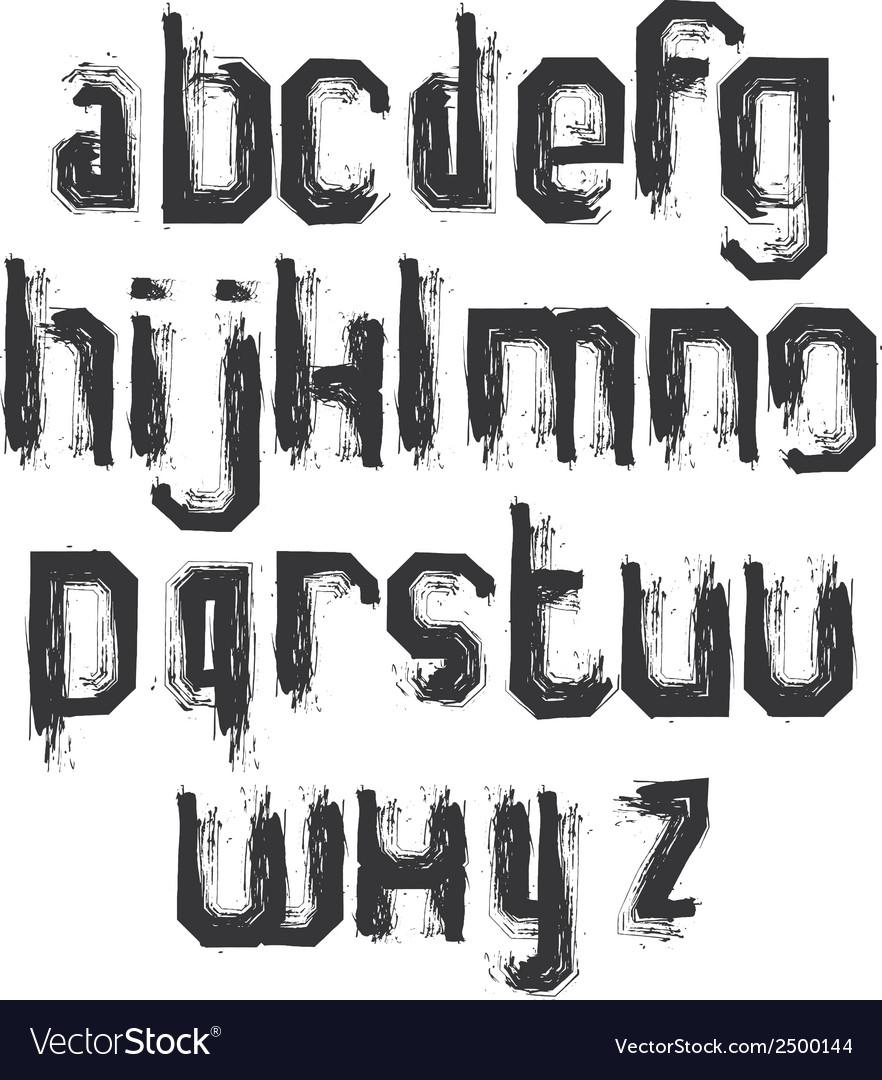 Alphabet letters set hand-drawn monochrome script vector