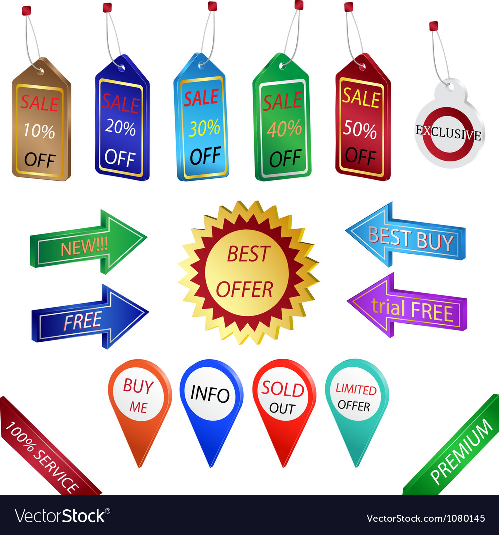 Sale tags and labels vector