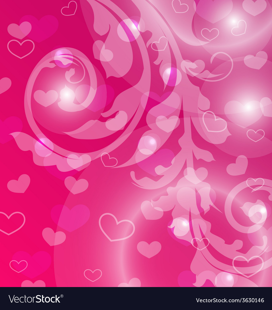Valentine day template with abstract floral vector