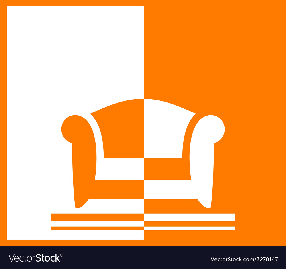 Yellow background with armchair vector