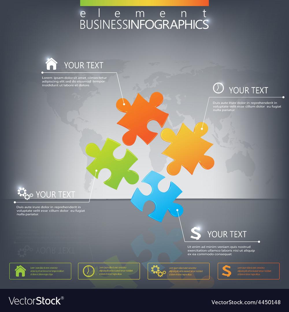 3d puzzle piece infographics on dark background vector