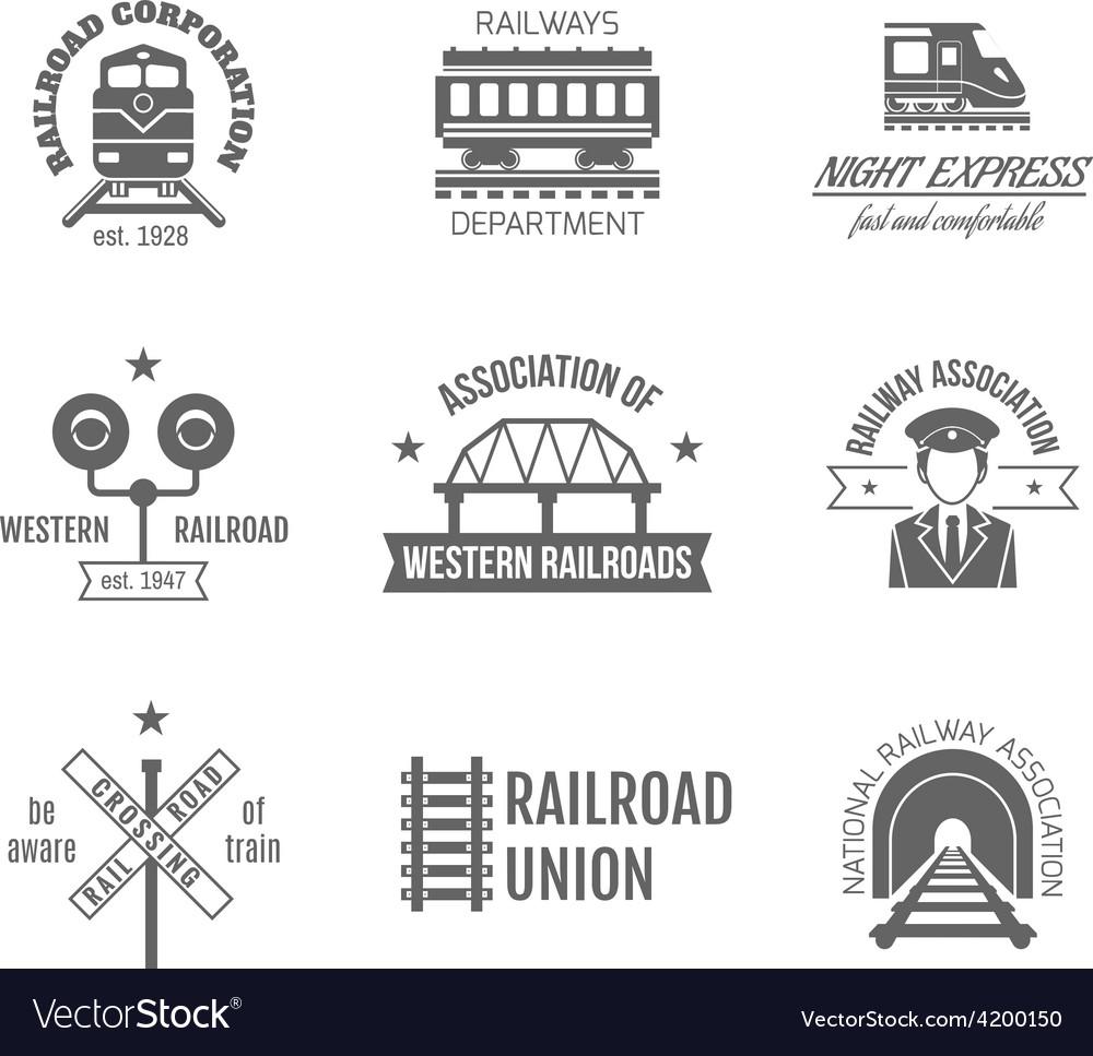 Railway label set vector