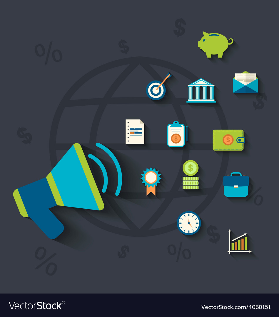 Flat icons concepts on business and finance theme vector