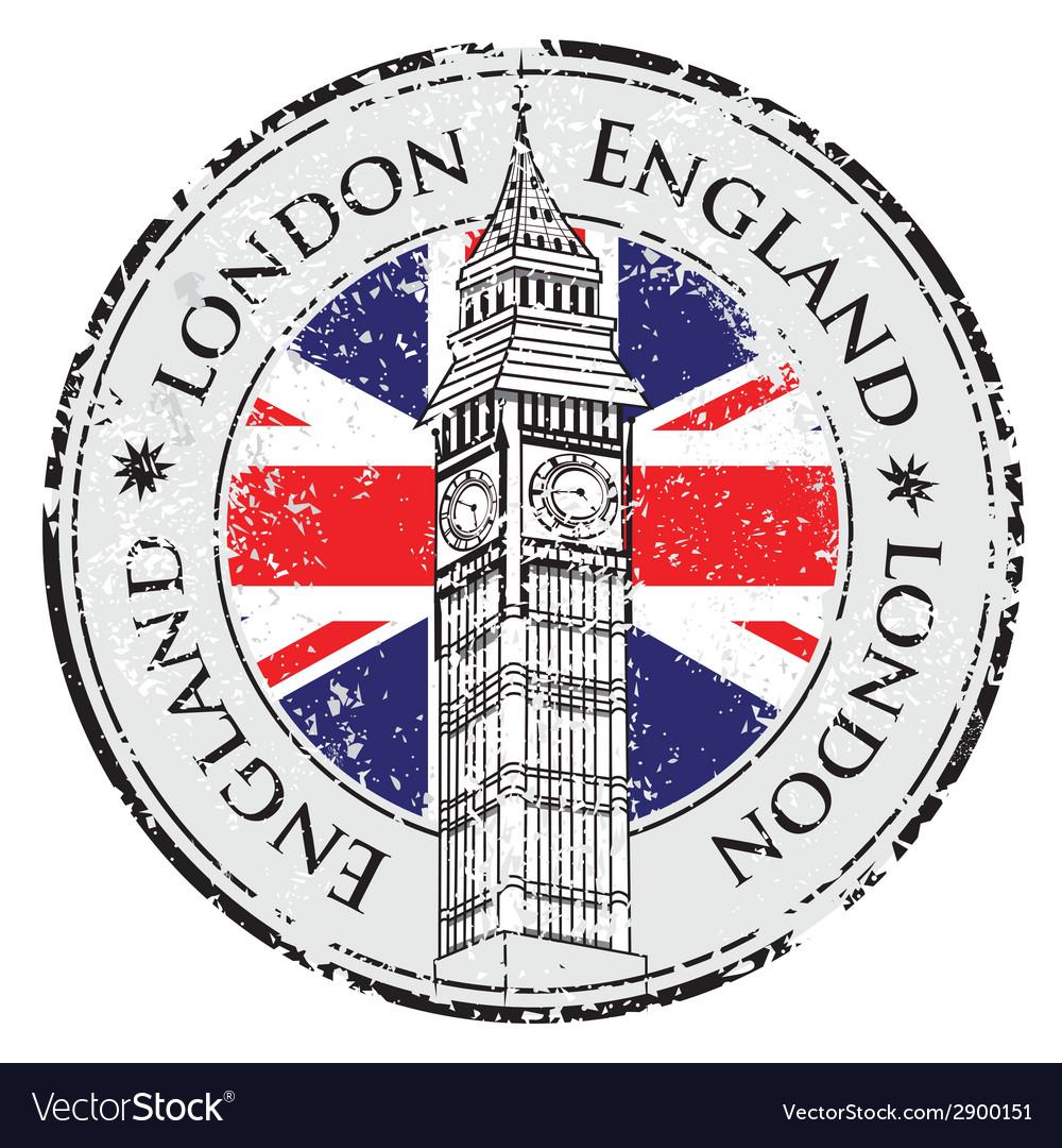 Rubber grunge stamp london great britain big ben vector
