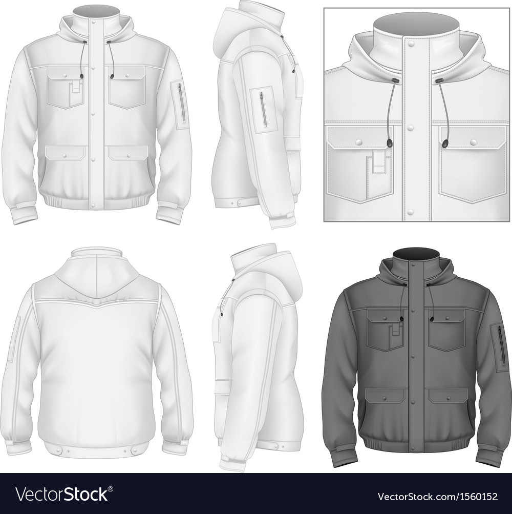 Mens flight jacket with hood vector